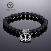 New Nature Stone High Quality Matte Black Beads Classic Couple Anchor Bracelets Bangles Women Yoga