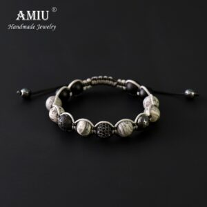 AMIU Men's Natural Stone Beaded Bracelet Handcrafted Dh Matite Beads Cord