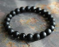 Bracelet with energetic yoga beads onyx black matte for men jewel