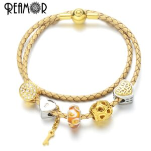 REAMOR luxury DIY heart charm bracelet gold cl d love and lock bracelet charms in