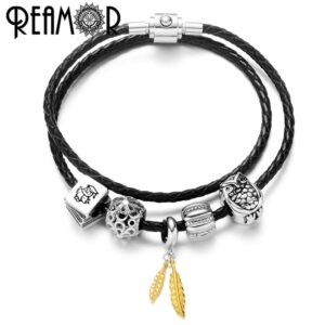 REAMOR Gold Plated Stainless Steel Leaf Charm Bracelet for Women in