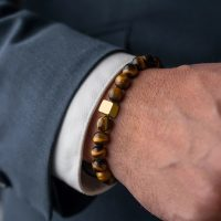Men's essential charms bracelet luxury gold color cube jewelry handmade beads