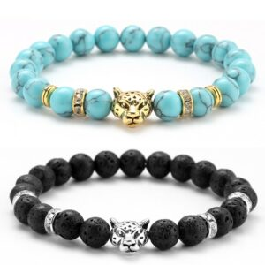 T te l opard stone bead charms bracelet beaded bracelet for men fashion mm natural stone