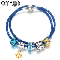 REAMOR Ocean Anchor Series Women's Charms Bracelet with Turtle Blue Crystal Bead Leather