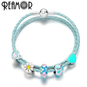 REAMOR Light Blue Genuine Leather Women's Bracelet with Heart Beads and Flowers