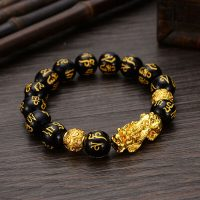 Alloy Wealth Bracelet Feng Shui Black pearl bracelet with charms jewelry Pixiu pain