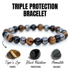 Fashion tiger eye triple protection natural stone bracelet h matite and black obsidian