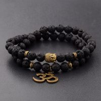R tro bracelet in buddha beads and natural stones for men charm in black chakra