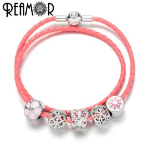 REAMOR Pink Genuine Leather Bracelets with Crystal Butterfly Flower Beads Bracelets