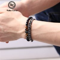 Natural tiger bracelets in stainless steel for men and women chain link