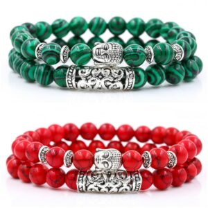 Macram bracelets pi these buddha head charms set natural beads of mm