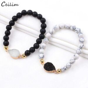 Color Crystal Charms Yoga Jewelry White Natural Stone Beads mm Bracelets Gift For