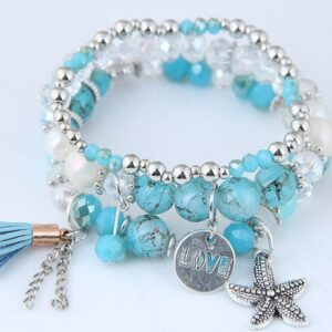 DIEZI Boh Style Me Crystal Pearl Bracelet Sea Canvas Multilayer Chain Tassel