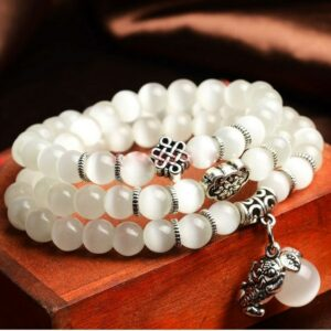 DIEZI Natural Opal Stones Bracelet for Women Yoga Courageous Buddha Charm Vintage Jewelry