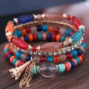 DIEZI Boh me Bracelets for Women Ethnic Crystal Beads Rhinestone Elastic Cord New Collection
