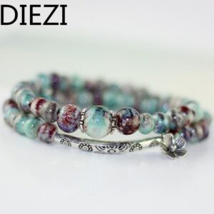 DIEZI C ramic Bracelets For Women Jewelry Floral Charms Fashion Accessories Dropshipping