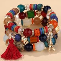 DIEZI Crystal Bead Bracelets for Women and Girls Multicolor Elastic Rope Boh Me Style
