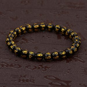 DOUVEI Elastic Bead Male Bracelets with Vintage Buddha Head Hand Accessories
