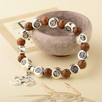 OIQUEI Natural Wood Buddha Bracelet mm Handmade Charms OM Yoga Chakra Beads