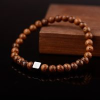Simple man natural wood bracelet