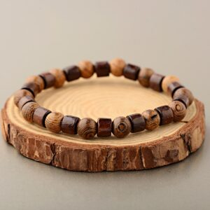 OIQUEI Round natural wood bracelet for Men classic and elastic beads Buddhist pearl prayer