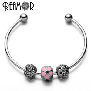 REAMOR l Stainless steel Simple rose mail flower beads women charm r glable open cuff m
