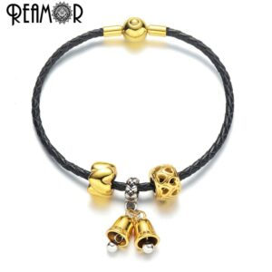 REAMOR Bell Shaped Charms Bracelet Women Black Genuine Leather Jewelry Style
