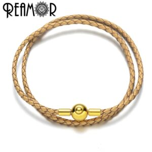 REAMOR Fashion Double Layers Genuine Leather Chain Bracelet For Women European