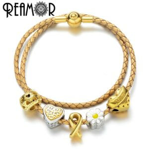 REAMOR Stainless Steel Gold Plated Cancer Bead Charm Women Genuine Leather Bracelets Heart Beads