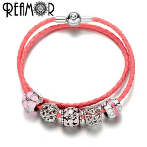 REAMOR Women Mail Heart Bead Genuine Leather Charms Bracelets Stainless Steel Jewelry Pink