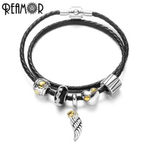 REAMOR Fashion Angel Wings Feather Charm Women Black Braided Genuine Leather Bracelet