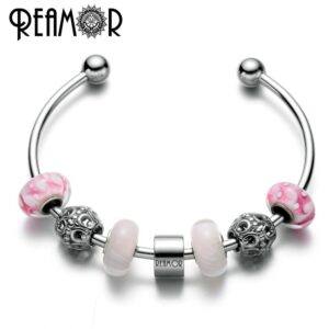 REAMOR brand letter l stainless steel lucky charm horseshoe charm cuff r glable open women