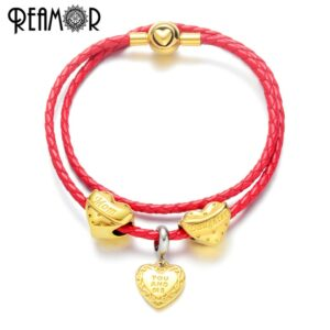 REAMOR Gold Plated Heart Clasp Charm Bracelets Women Mom Daughter Red Bead Double Layer Bracelet