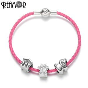 REAMOR Pink Real Leather Women European Bracelets Set Jewelry Zircon Dog Paw Dog House s