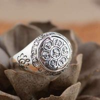 silver lotus flower mantra ring