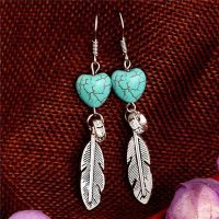 feather of love earrings in semi precious stone eccf