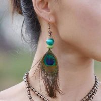 def peacock feather earrings