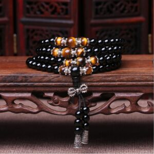 Bracelet 108 natural crystal beads, obsidian beads, rosary