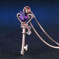 necklace and pendant key of dreams in amethyst deaea