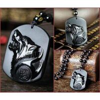 deede natural obsidian wolf necklace