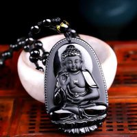 Dedfd black obsidian protection buddha pendant necklace