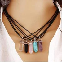 semi precious stone pendant necklace available colors ebe