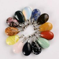semi precious stone water drop pendant available stones deeacd