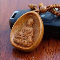 Buddha keyring peach wood carving dedcbc