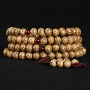 Bracelet 108 natural Bodhi beads in primary colors hand-knotted string 108 beads