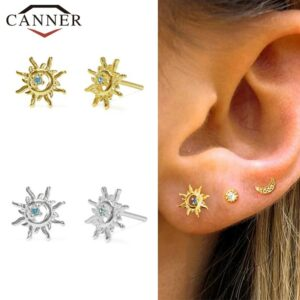Women's 925 Sterling Silver Earrings Lovely Blue Zircon Crystal Openwork Sun Studs Gold and Silver