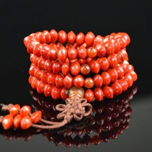 Natural Wooden Bodhi Bracelet, Red Beads, 108 Blood, Buddhist Style