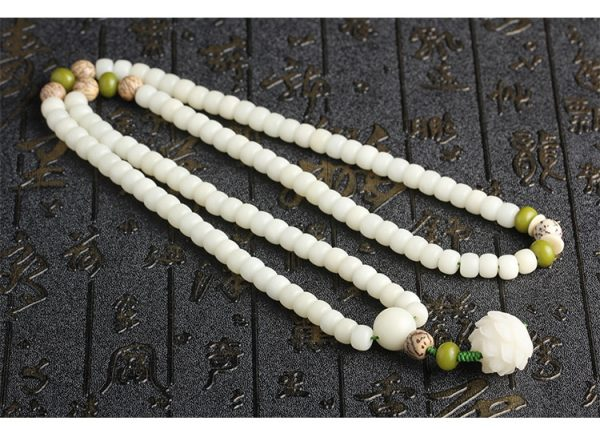 Natural White Lotus Root Bead Bracelet, 108 Mala for women, Yoga, meditation, balance
