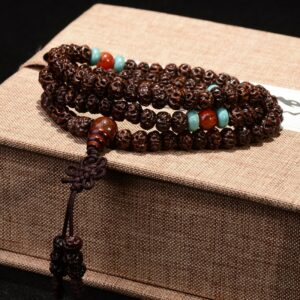 Natural wood bracelet, small Bodhi beads, Ruyi, 108 divine