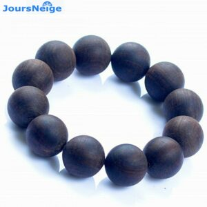 Authentic wood incense bracelet in old material, black sand, sink, buddha beads